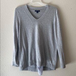 Tommy Hilfiger Grey Sweater W/ Stripe Back